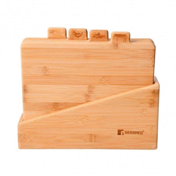Bergner Snijplankenset - met houder - bamboe
