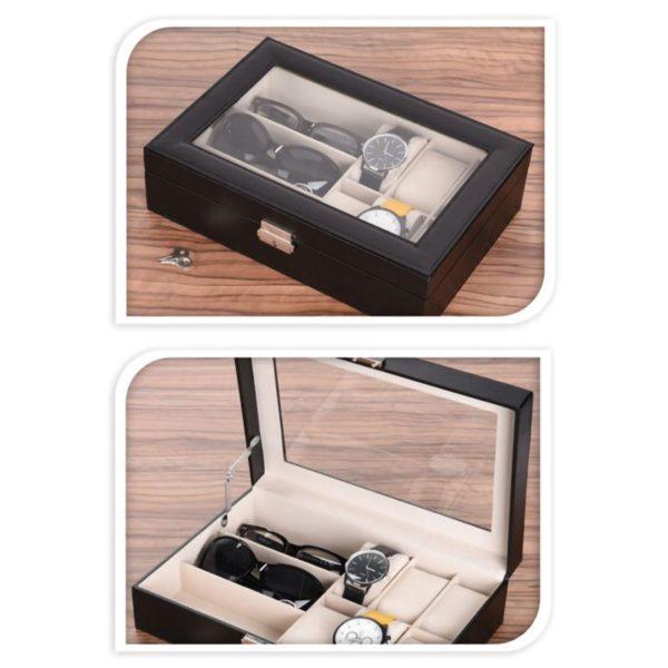 Horlogebox - voor 6 horloges en 3 brillen