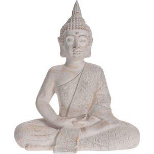 Boeddha zittend - Tuinbeeld - crème - 62,5cm