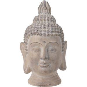 Boeddha Hoofd - Tuinbeeld - crème - 53.5cm