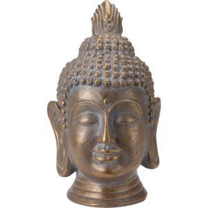 Boeddha Hoofd - Tuinbeeld - bronskleur - 53.5cm