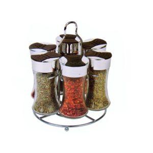 Kruidenrek - met 6 glazen kruidenpotjes