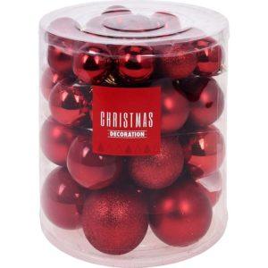 Kerstballenset - 44 stuks plastic - rood