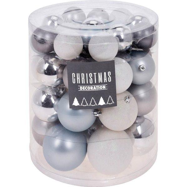 Kerstballenset - 44 stuks plastic - zilver-wit-frozen