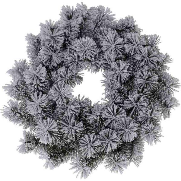 Kerstkrans - groen met sneeuw - 40 cm