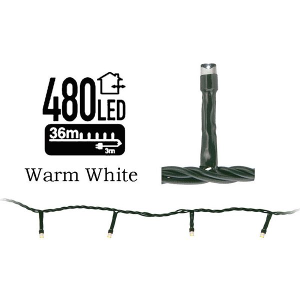 LED-verlichting 480 LED's 36 meter warm wit