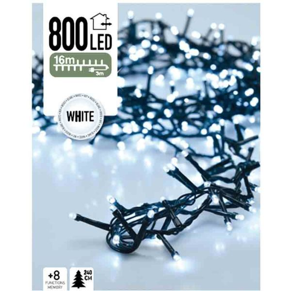 Micro Cluster 800 LED's 16 meter wit