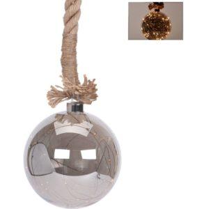 Glazen bal met 30 LED's - 15cm - jute touw 100cm