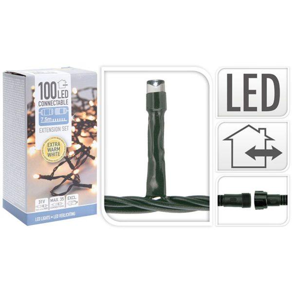 Koppelbare Kerstverlichting - 100 LED - 7.5m - extra warm wit