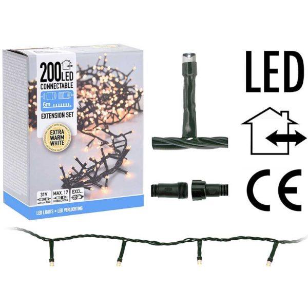Koppelbare Kerstverlichting - 200 LED - 6m - extra warm wit