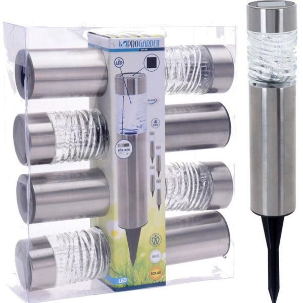 Solarlampen LED - RVS + Glas - Set van 4