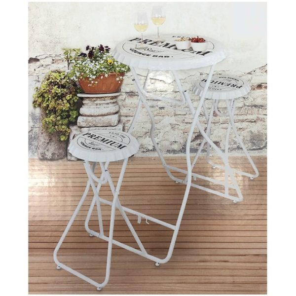 Bartafel met 2 stoelen - wit