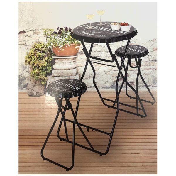 Bartafel met 2 stoelen - zwart