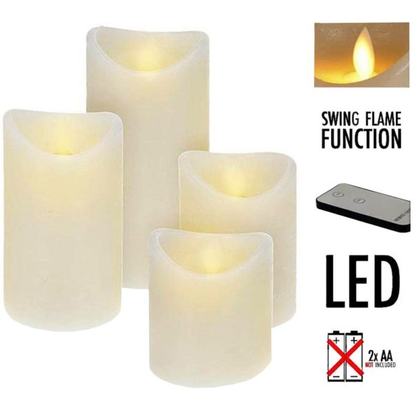 Wax LED Kaarsen met afstandsbediening - Set van 4