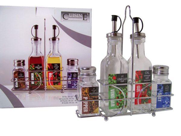 Olie- en azijnstel - met peper- en zoutsetje
