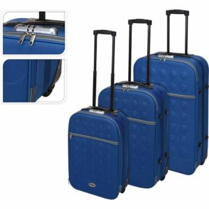 Reiskoffers met slot 3-delig blauw