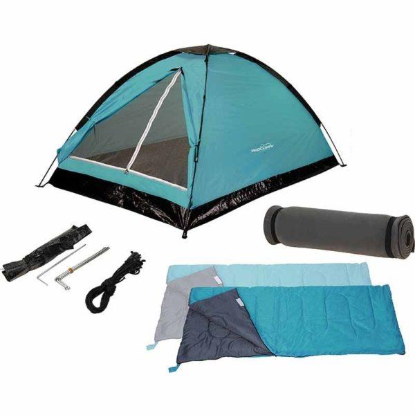 Kampeerset - 2-personen - Tent + Slaapzakken + Matjes