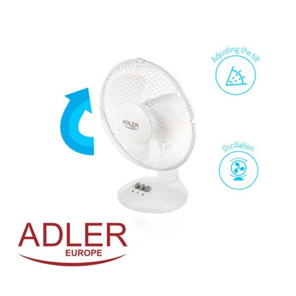 Adler AD7302 - Tafelventilator wit - 23cm