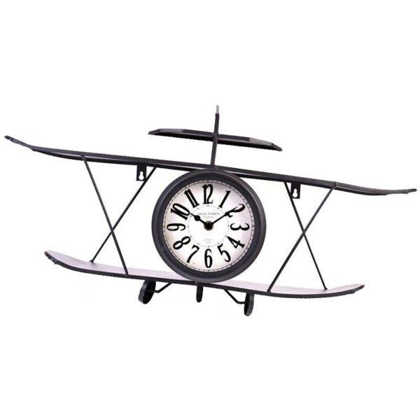 Retro klok dubbeldekker metaal - zwart - 64x16cm