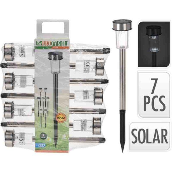 Set van 7 RVS solarlampen