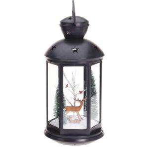 Kerstlantaarn 43cm - met licht en rendier