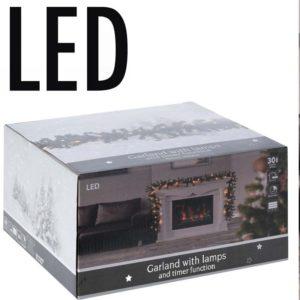 Guirlande met 30 LED - warm wit - 2.70 meter - met timer - op batterij