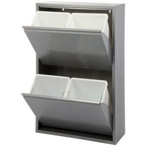 Duett - Afvalbak voor Recycling - Vrijstaand - 2 Dubbele Bakken - Grijs
