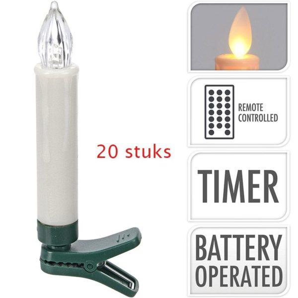 Kaarsverlichting - 20 stuks - draadloos - met afstandsbediening