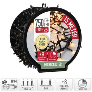 Micro Cluster met Haspel - 750 LED - 15 meter - extra warm wit
