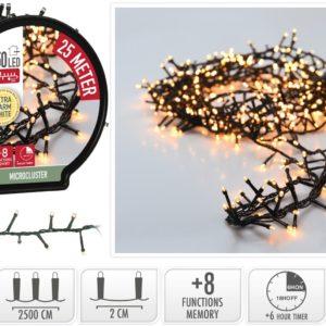 Micro Cluster met Haspel - 1250 LED - 25 meter - met timer - extra warm wit