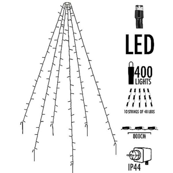 Vlaggenmast verlichting 400 LED's - 800cm